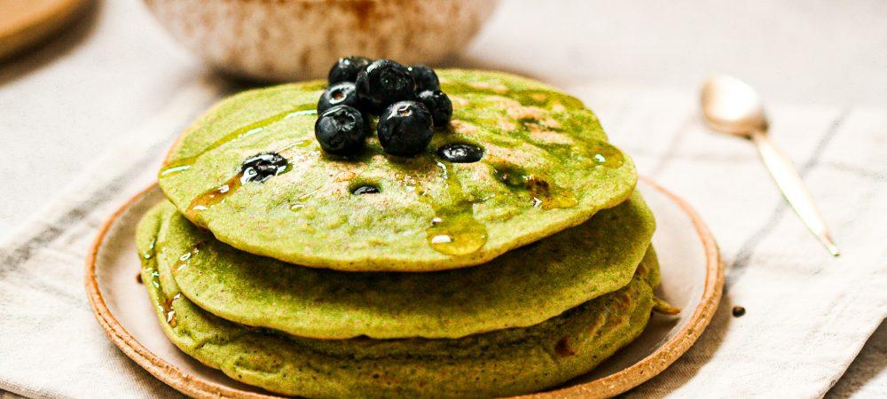 Vegan Matcha & Blueberry Pancakes – Sugar-Free & Gluten-Free